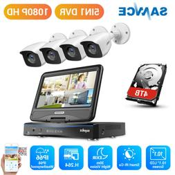 """SANNCE 10.1"""" Monitor 4CH 1080N DVR Outdoor 2MP Security Came"""