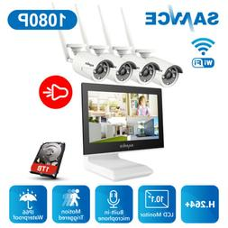 """SANNCE 10.1"""" Monitor 4CH NVR Wireless 1080P Audio Security I"""