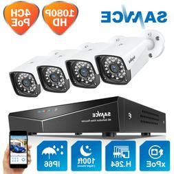 SANNCE 4CH 1080P NVR PoE Outdoor 2MP CCTV Security Camera Sy