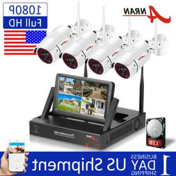 ANRAN 1080P Wireless Home Security Camera System Outdoor 4CH