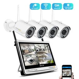 Wireless IP Camera System 4CH NVR 12'' Monitor LCD 1080P Out