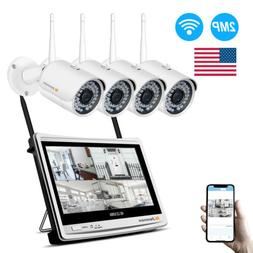 2MP 4CH 12'' Monitor LCD NVR Wireless Security Camera System