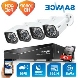 SANNCE 4CH 1080P NVR PoE CCTV Outdoor HD 2MP Security Camera