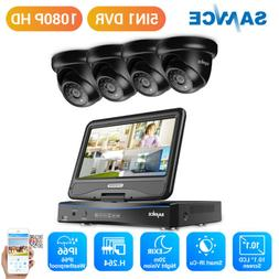 """SANNCE 4CH DVR Built in 10.1"""" Monitor Outdoor 1080P CCTV Sec"""
