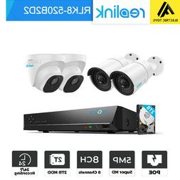 Reolink 5MP 1920P POE Security Camera System NVR Kt 2TB HDD