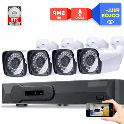 8 Channel 5MP Color Night Vision Security Camera System w/