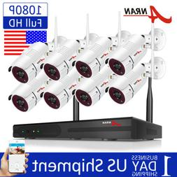 8CH 1080P CCTV Security Camera System Outdoor Wireless Home