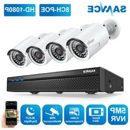 SANNCE 8CH 1080P POE IP Security Camera System 5MP NVR Audio
