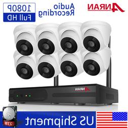 ANRAN 8CH Wireless Security Camera System with Audio 1080P O