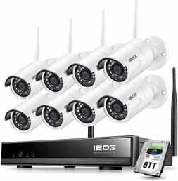 Zosi 8Ch 1080P Wireless Security Cameras System With 1Tb Har