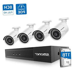 【8CH 1TB HDD】 PoE Home Security Camera System,SMONET NVR