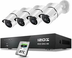ZOSI H.265+ 8MP 8CH DVR Ultra HD 4K 100ft Outdoor Security C