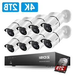 ZOSI HD 8MP 8CH H.265 DVR 4K Security Camera System Outdoor