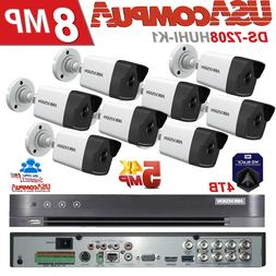 Hikvision 8Ch Security System CCTV KIT 4TB HDD 5MP Camera 4K