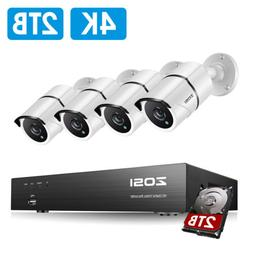 ZOSI 4K H.265 Security Camera System with 2TB Hard Drive 8CH