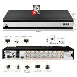 ZOSI 16 Channel H.265+ 1080p DVR with Hard Drive 2TB for Sec