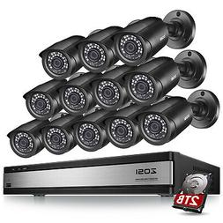 ZOSI 16 Channel H.265+ DVR Hard Drive 2T 12 1080p Outdoor Se