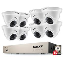 ZOSI 8 Channel 5MP Lite DVR 2TB Security Camera System 1080p