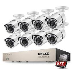 ZOSI H.265+ 8 Channel 5MP POE Security IP Camera System 2TB