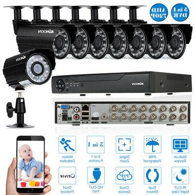 KKmoon 16CH 1080P NVR 5In1 DVR 8* 720P CCTV Camera Outdoor S