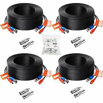 ZOSI 4pcs 100ft Video Power Cable BNC RCA Cord Wire for Secu