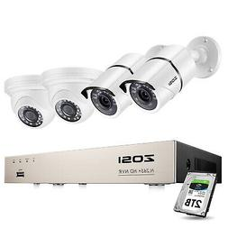 ZOSI H.265+ 8CH 5MP POE NVR Security Camera System with Hard