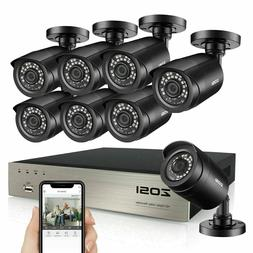 Security Camera Outdoor Home ZOSI HD 8CH 1080P DVR 720P  Sur