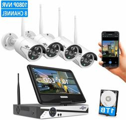 """Security Camera System, 10.1"""" Monitor Wireless, 4pcs 2.0MP 1"""