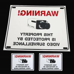 SECURITY CAMERA SYSTEM WARNING YARD FENCE SIGN+STICKERS