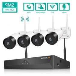 Wireless CCTV Security IP Camera System 5MP 4CH NVR Audio Wi