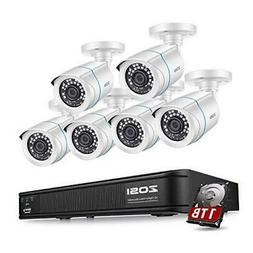 ZOSI 1080p Home Security Camera System Outdoor Indoor, H.265