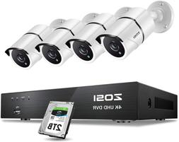 Zosi 4K Ultra Hd Security Cameras System, 8 Channel H.265+ 4