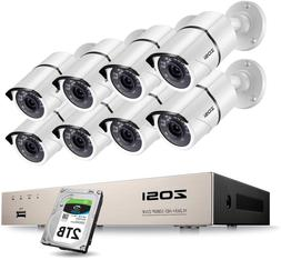 Zosi 8Ch 1080P Security Camera System With 2Tb Hard Drive H.