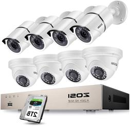 Zosi 8Ch 5Mp Poe Security Camera System Outdoor With 2Tb Hdd