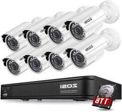 ZOSI H.265+1080p Home Security Camera System Outdoor Indoor,