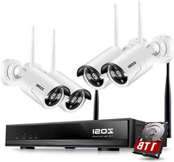 Zosi Wireless Security Cameras System With Hard Drive 1Tb, 1